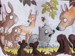 Die Tiere des Waldes beschnuppern den kleinen Fuchs