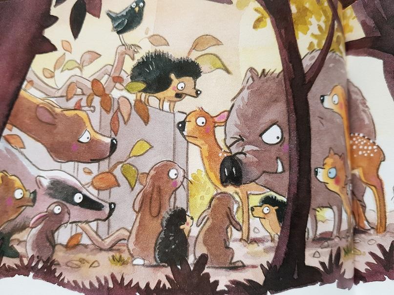 Die Waldtiere beratschlagen, wie sie Langbein retten können.