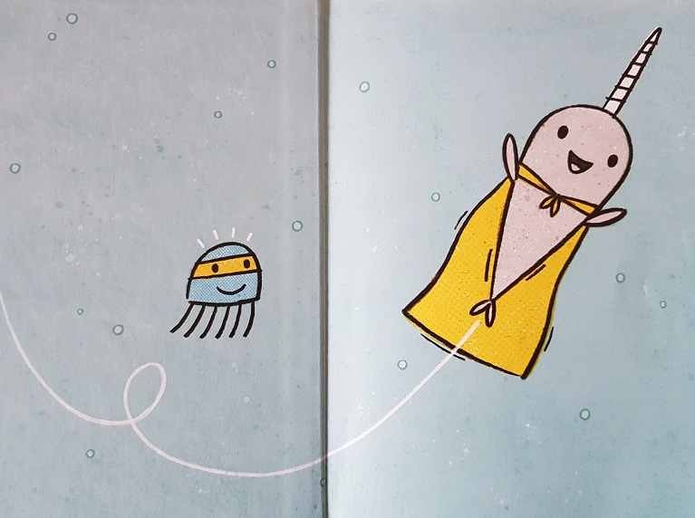 Super-Narwal und Jelly, der Blitz schwimmen durch das Meer