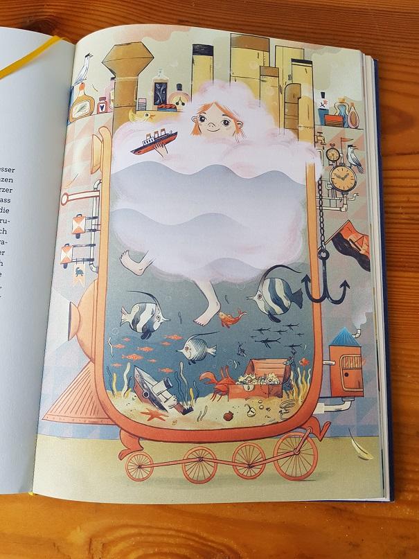 Vorlesebuch mit fantasievollen Illustration, hier zum Thema Haarewaschen